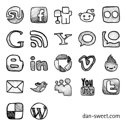 Hand-drawn social icons 64x64