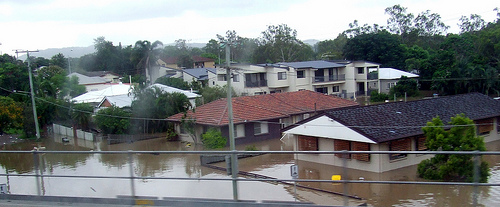 Flooded houses in Ovendean St, Yeronga - Flooding in Brisbane, Queensland, Australia January 11, 2011 110112